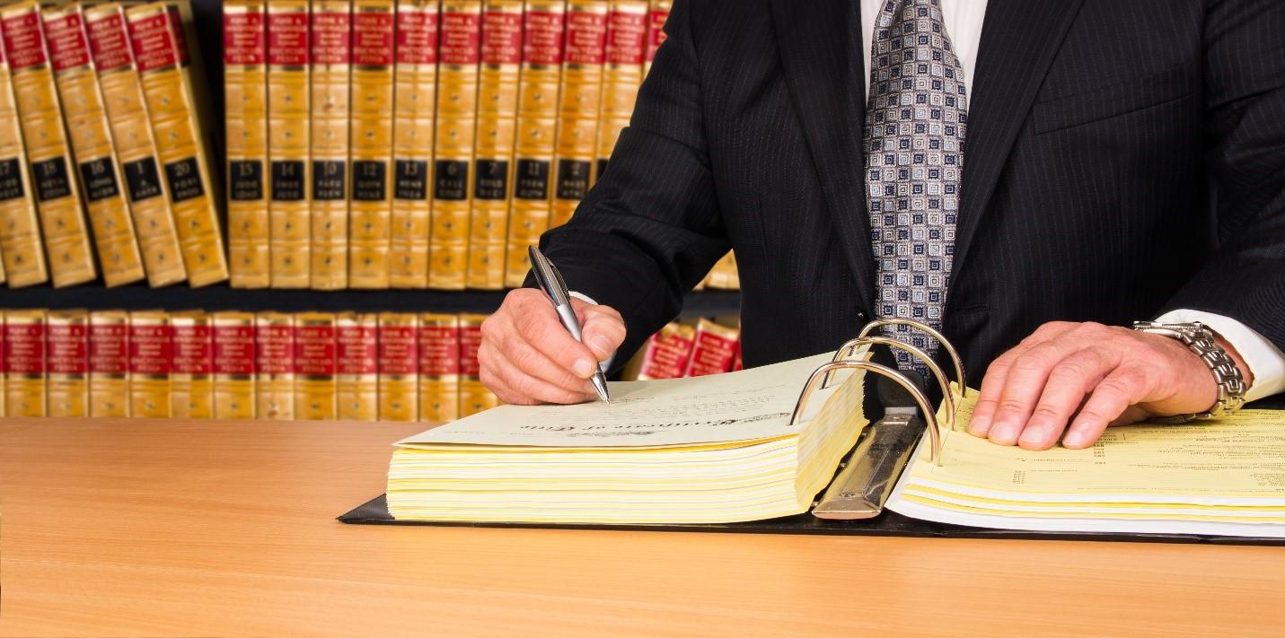 big binder of legal paperwork
