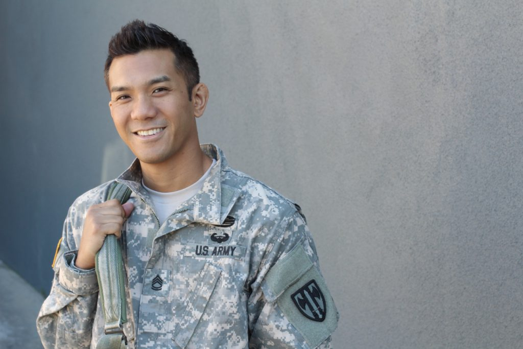 american army soldier smiling