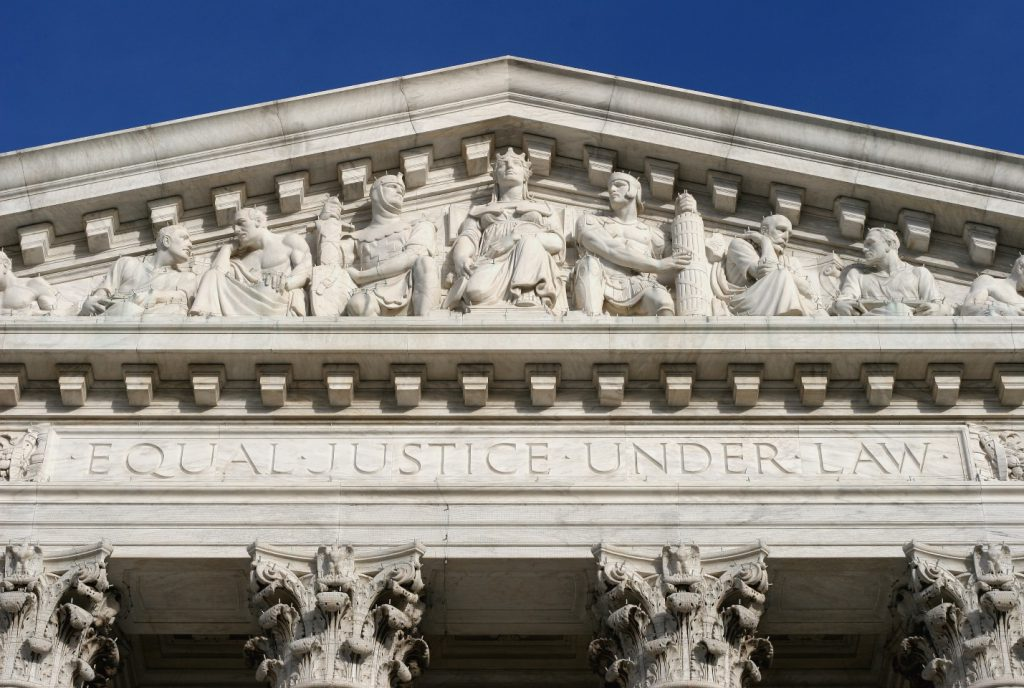 "The west façade of the US Supreme Court Building, showing the motto ""Equal Justice Under Law"""
