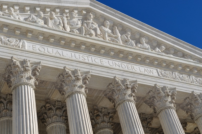 "The west façade of the US Supreme Court Building, showing the motto ""Equal Justice Under Law""."