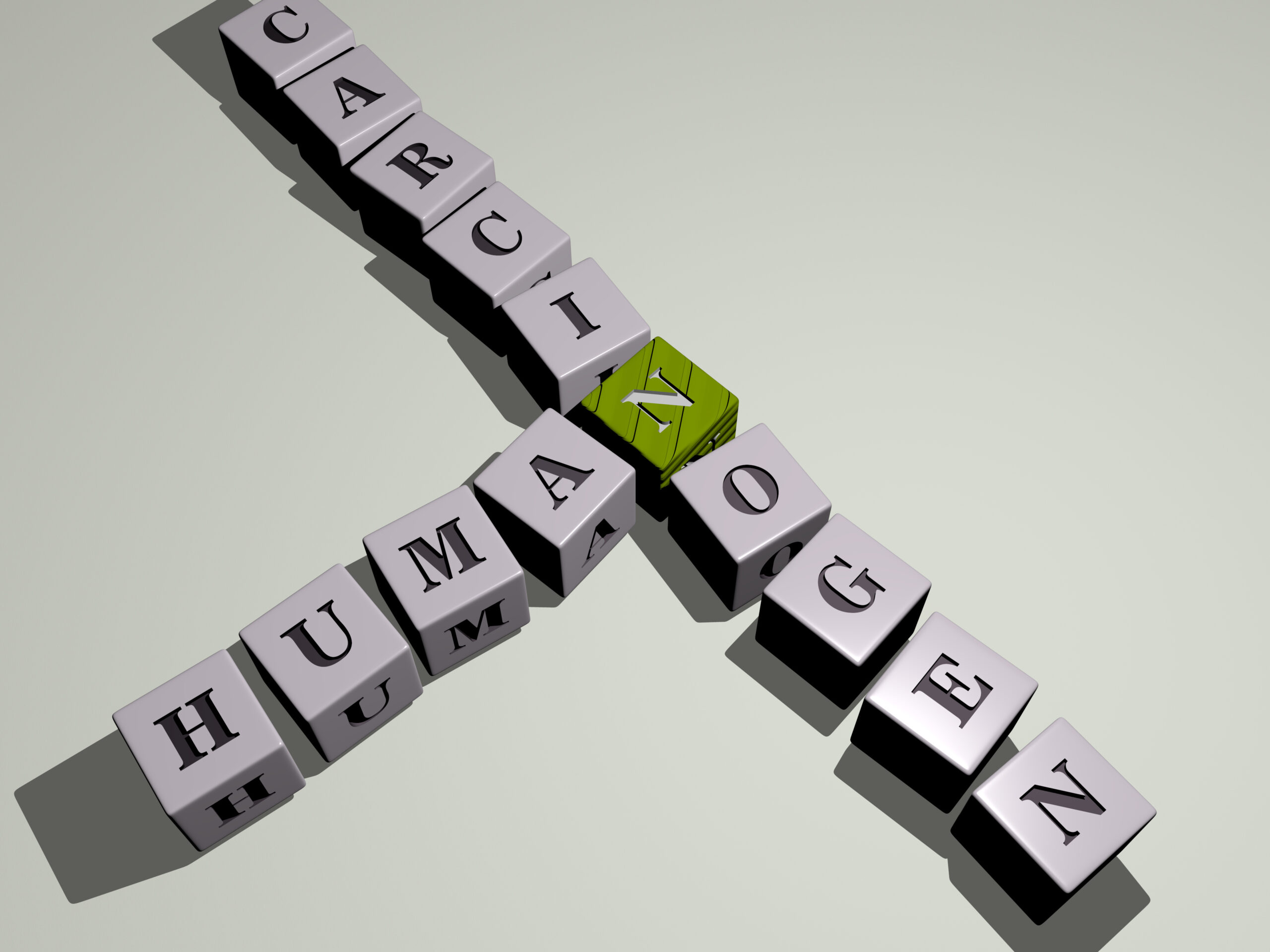 "Letter blocks showing the word ""human"" and ""carcinogen"" linked together."