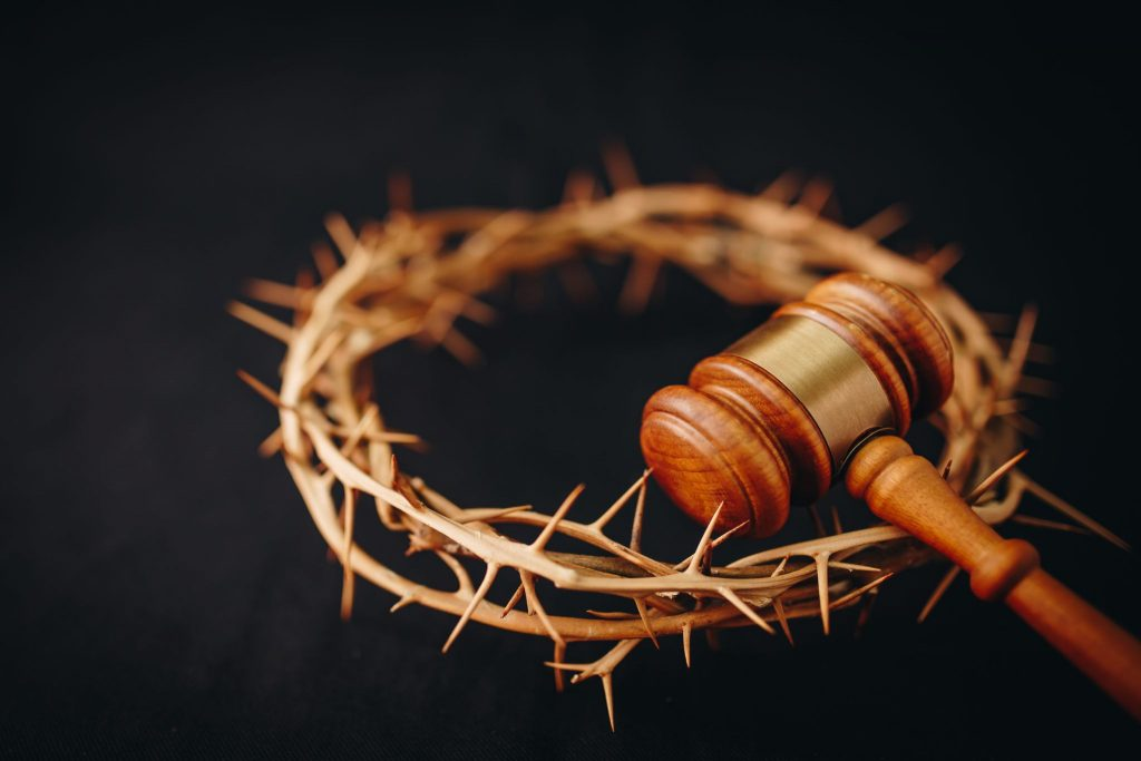 crown of thorns of Jesus and Judge gavel